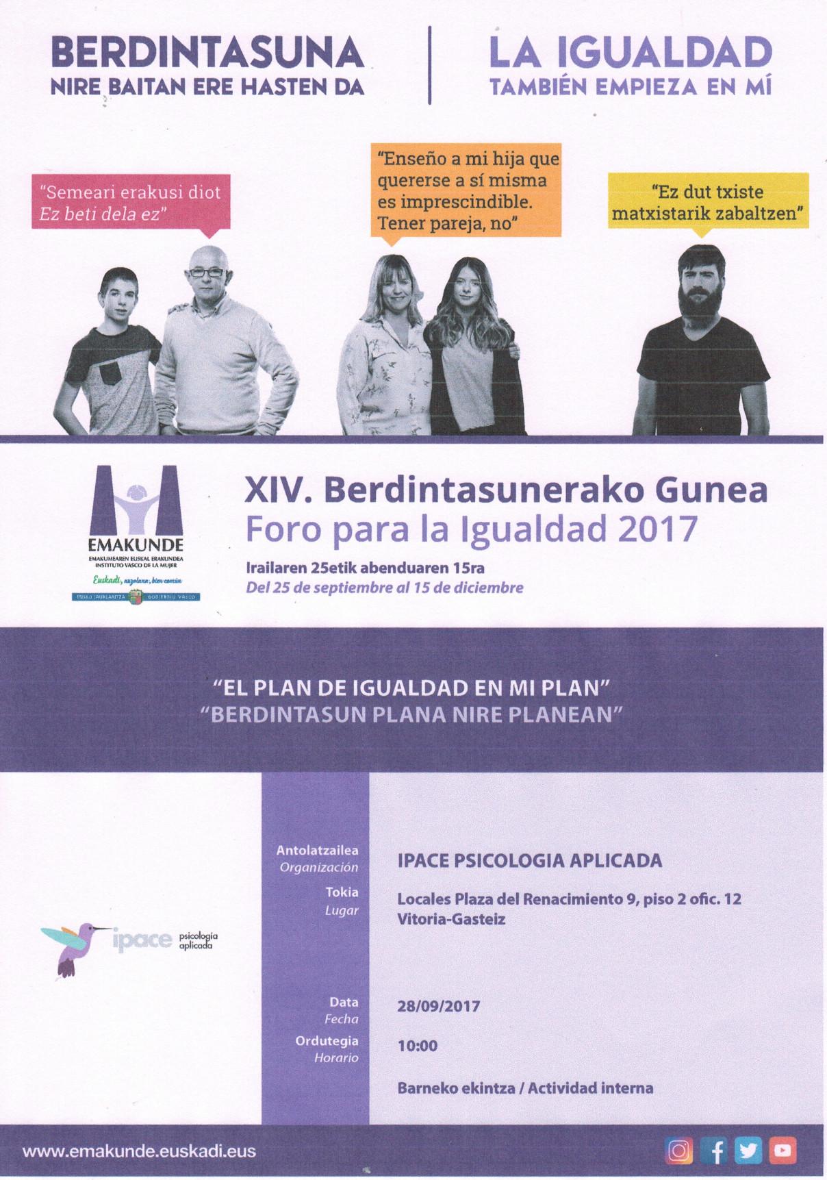 Jornada interna Foro para la Igualdad 2017